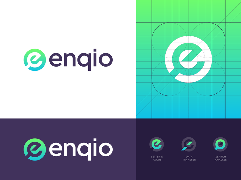Enqio - Logo Design branding design identity search results magnify glass e scalable platform creative logo modern logo tech logo logo design logo tech data tool store retail shopper enqio