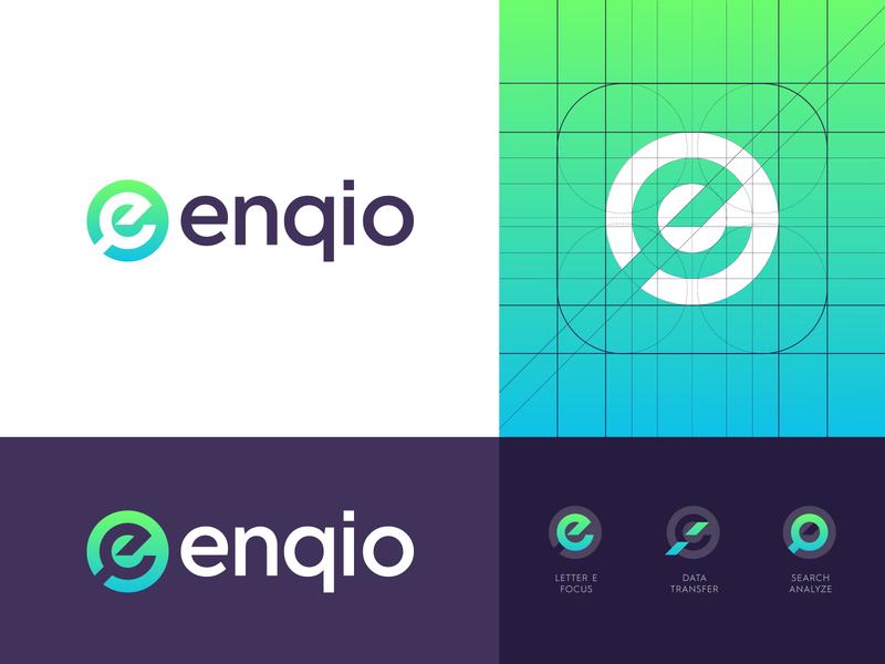 Enqio - Logo Design branding design identity search results magnify glass e scalable platform creative logo modern logo tech logo logo design logo tech data tool store retail shopper enqio