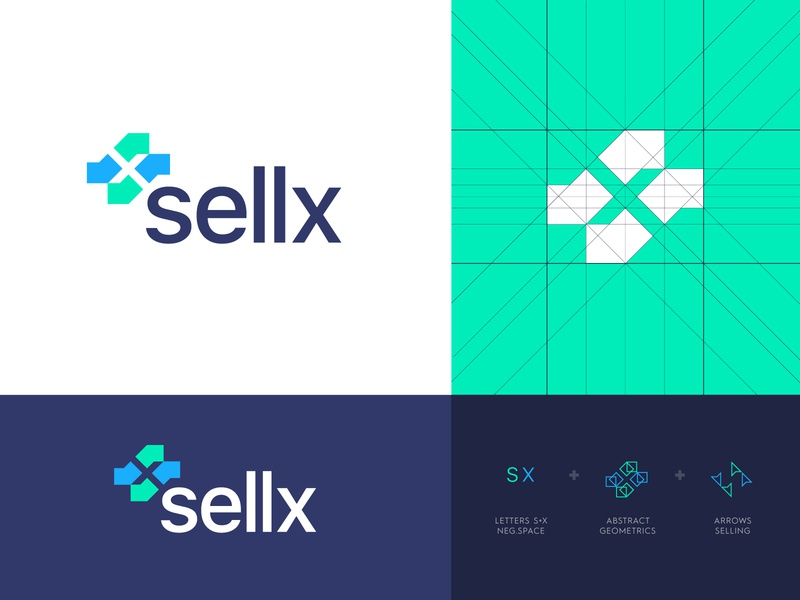 Sellx - Logo Design identity design arrow traffic leads lead remote platform buy selling abstract letter logo monogram elevate shift negative space logo design logo s x sell