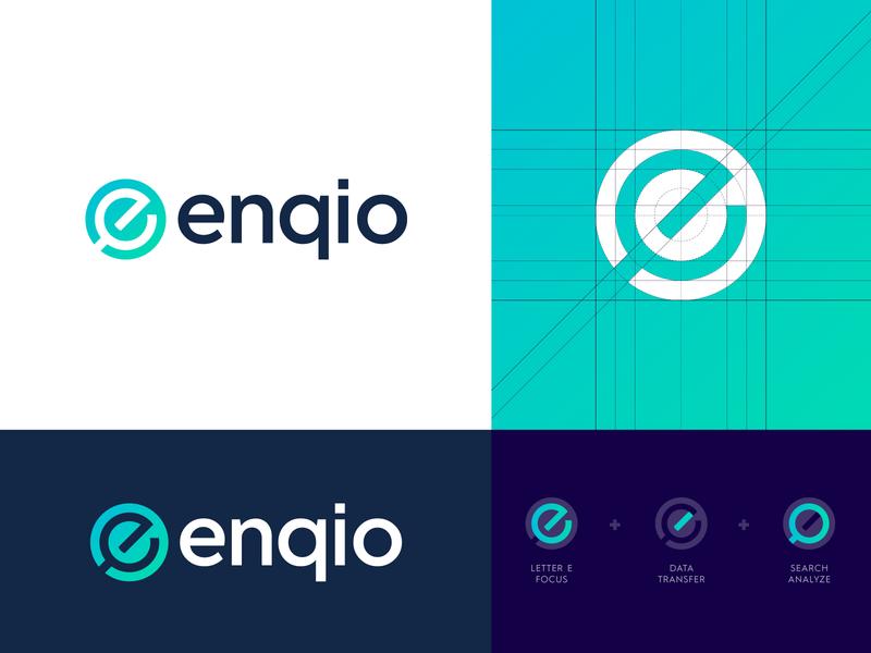 Enqio - Logo Design enqio shopper retail store tool data tech logo logo design tech logo modern logo creative logo platform scalable e magnify glass results search identity branding design