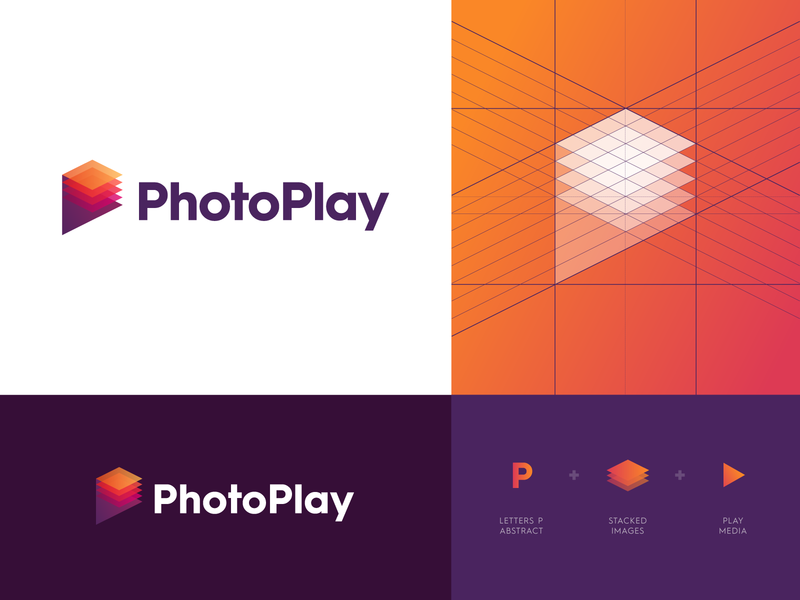 PhotoPlay - Logo Design branding identity desgn layer modern logo design modern logo logo grid grid logo design logo letter monogram logo monogram p media stacked pictures picture online search play photo
