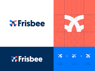 Frisbee - Logo Design frisbee bee angel logo logo design rotation invest fund funding angel level angel investor branding logo grid logo identity identity design f monogram butterfly finance venture