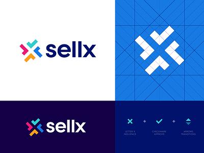 Sellx - Logo Design check sell x logo logo design negative space shift elevate monogram letter logo abstract selling buy platform lead leads traffic arrow identity design stock