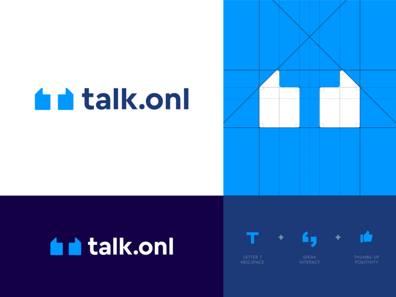 Talk - Logo Design thumbs talk online balance connect lettering wordmark monogram branding identity logo abstract letter support coach life human personal grow help