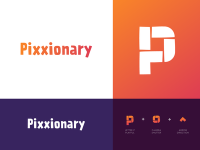 Pixxionary - Logo Design education camera shutter wordmark logo wordmark arrow photo online picture pictures stacked media p logo monogram letter monogram logo logo design modern logo modern logo design identity desgn branding
