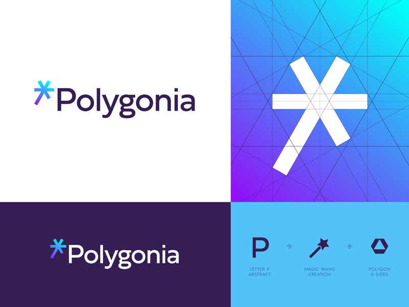 Polygonia - Logo Design jeroen van eerden logo grid icon design icon identity design branding polygonia creative logo logo design logo p monogram star magic magic wand hexagon polygons polygon