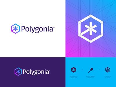 Polygonia - Logo Design polygon polygons hexagon magic wand magic star logo logo design creative logo polygonia branding identity design icon icon design logo grid jeroen van eerden