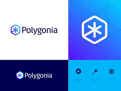 Polygonia - Logo Design jeroen van eerden logo grid icon design icon identity design branding polygonia creative logo logo design logo star magic magic wand hexagon polygons polygon