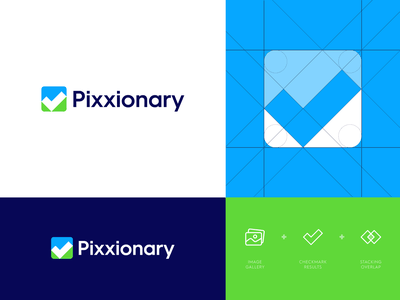 Pixxionary - Logo Design 🖼️ branding identity desgn modern logo design modern logo logo design logo letter monogram logo monogram p media stacked pictures picture online photo arrow wordmark wordmark logo camera shutter education