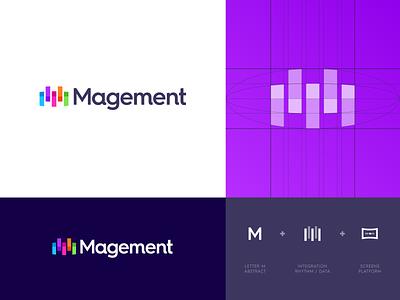 Magement - Logo Concept applications magement integration data service platform monitoring logo project logo design abstract symbol grid lettering icon mark monogram branding identity logo