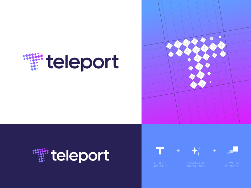 Teleport - Logo Design identity design identity branding chat portal logo logo design logo grid t monogram remote collaborate colleagues work work environment communicate talk conversion spark teleportation teleport