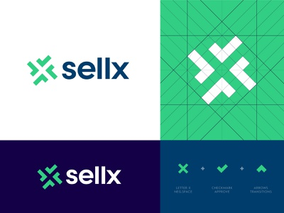 Sellx - Approved Logo Design stock identity design arrow traffic leads lead platform buy selling abstract letter logo monogram elevate shift negative space logo design logo x sell check