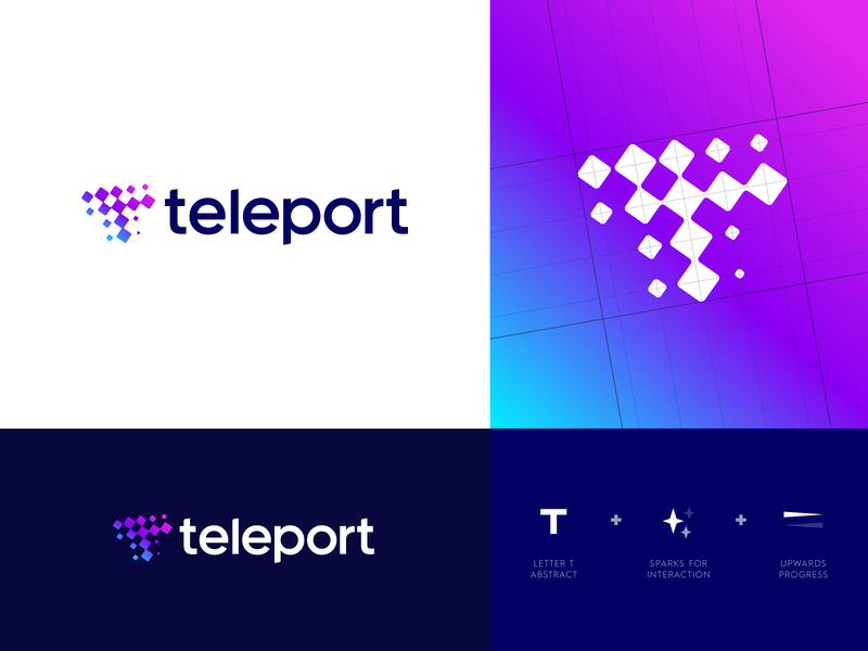 Teleport - Logo Design ✨ teleport teleportation spark conversion talk communicate work environment work colleagues collaborate remote t monogram logo grid logo design logo portal chat branding identity identity design