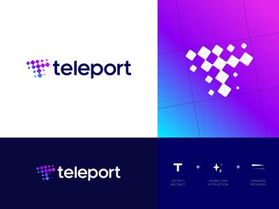 Teleport - Logo Design ✨ teleport teleportation spark conversion talk communicate work environment work colleagues collaborate remote t monogram logo grid logo design logo portal chat branding identity identity design