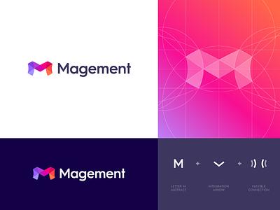 Magement - Logo Design logo identity branding monogram mark icon lettering grid symbol abstract logo design logo project monitoring platform data service integration magement applications