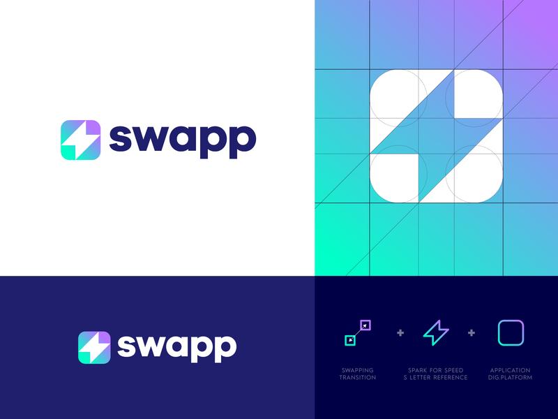Swapp Dribbble logo grid branding design identity design identity branding app icon bolt spark logo icon logo design logo application app swapp
