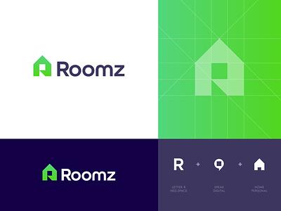 Roomz - Logo Design 🏡 branding identity design roomz digital talk speak chat lettermark letter monogram r creative logo logo design logo find rent house home share roommates roommate room
