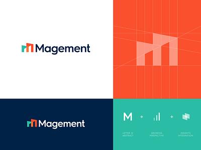 Magement - Logo Design 📊 logo identity branding monogram mark icon lettering grid symbol abstract logo design logo project monitoring platform data service integration magement applications