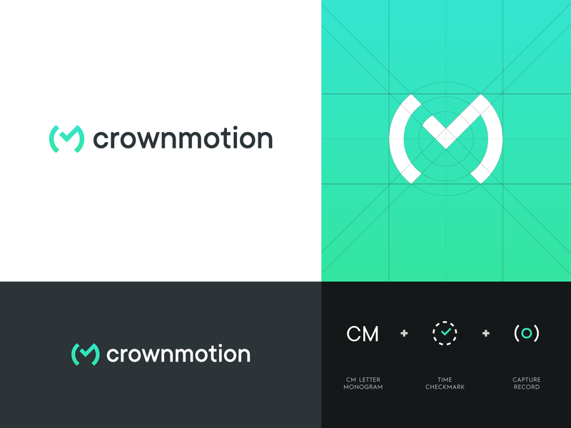 Crownmotion - Logo Design crownmotion identity design identity branding lettermark letter logo letter monogram monogram space time check abstract logo creative logo logo design logo modern production video motion crown
