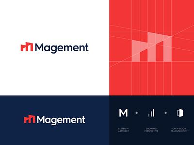 Magement - Logo Design applications magement integration data service platform monitoring logo project logo design abstract symbol grid lettering icon mark monogram branding identity logo