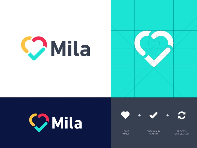 Mila - Logo Design 💚 protection custom lettering identity design identity logo redesign branding logo design logo heart love family health healthy purifier circulate air pollution urban filter air mila
