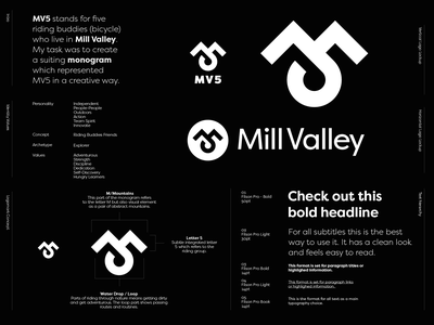 Mill Valley 5 - Logo Design 🚵🏻 mill valley bikers biker bicycle bicycles activity logo identity branding logo design 5 monogram lettering m drop mountains hill mill valley california