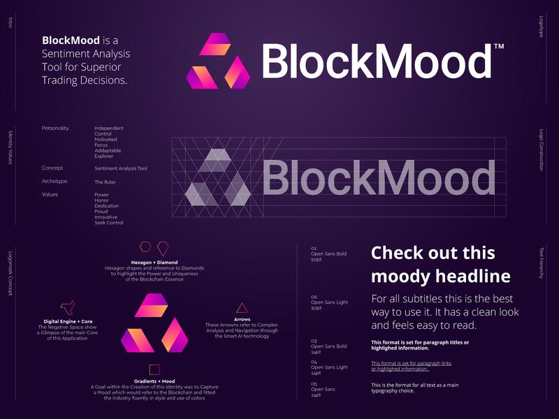 BlockMood - Logo Design analysis logo branding icon grid abstract ui crypto currency crypto logo block blockchain identity design logo design vibe mood sense monogram lettermark crypto currency