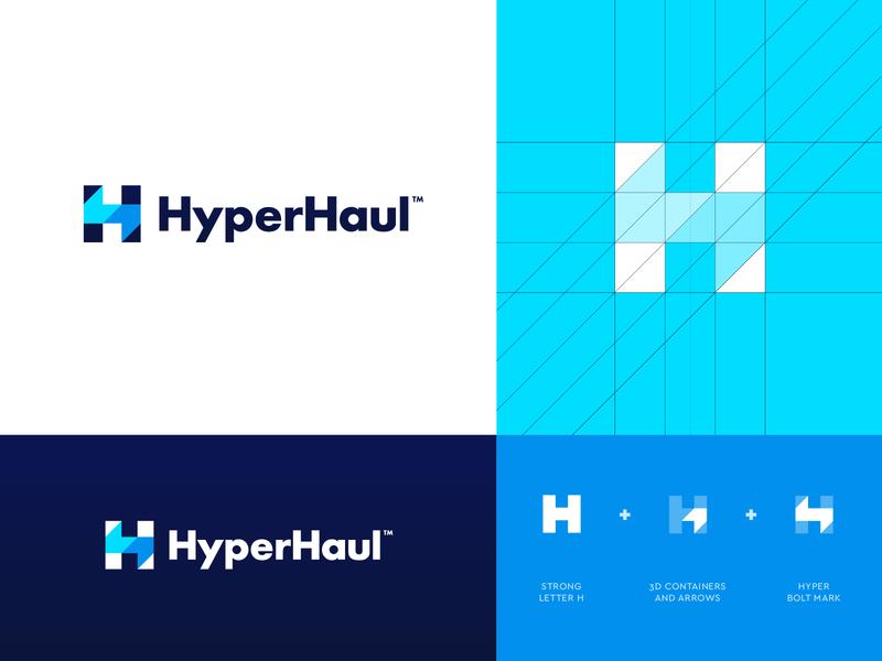HyperHaul - Logo Option 4 Refined arrow software management cargo logistics logistic haulier haul hyper bolt creative logo vector logo design abstract grid lettering monogram branding identity logo