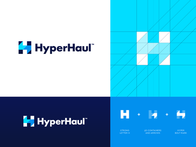 HyperHaul - Logo Option 4 Refined arrow software management cargo logistics logistic haulier haul hyper bolt creative logo vector logo design abstract grid lettering monogram branding identity logo