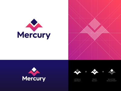 Mercury - Logo Redesign logo grid dev future lettermark m monogram development creative logo visual identity branding space rocket logo design logo mercury