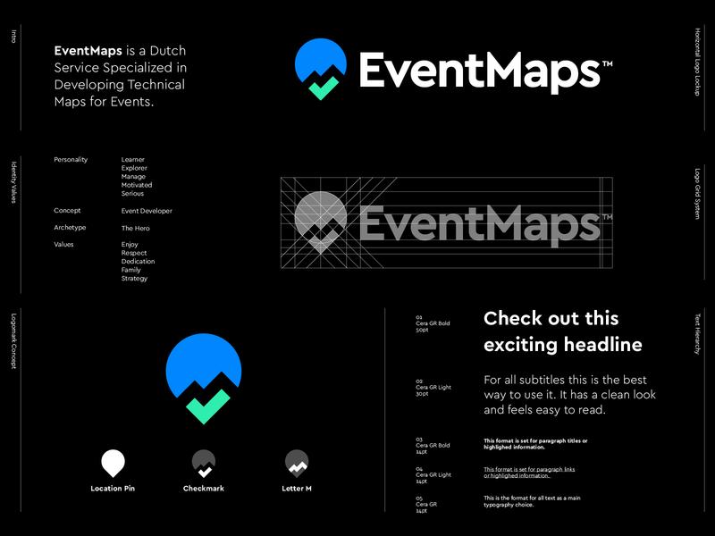 EventMaps - Logo Design dutch develop monogram m monogram pinpoint pin eventmaps identity design visual identity branding creative logo iconography checkmark check logos maps map event logo design