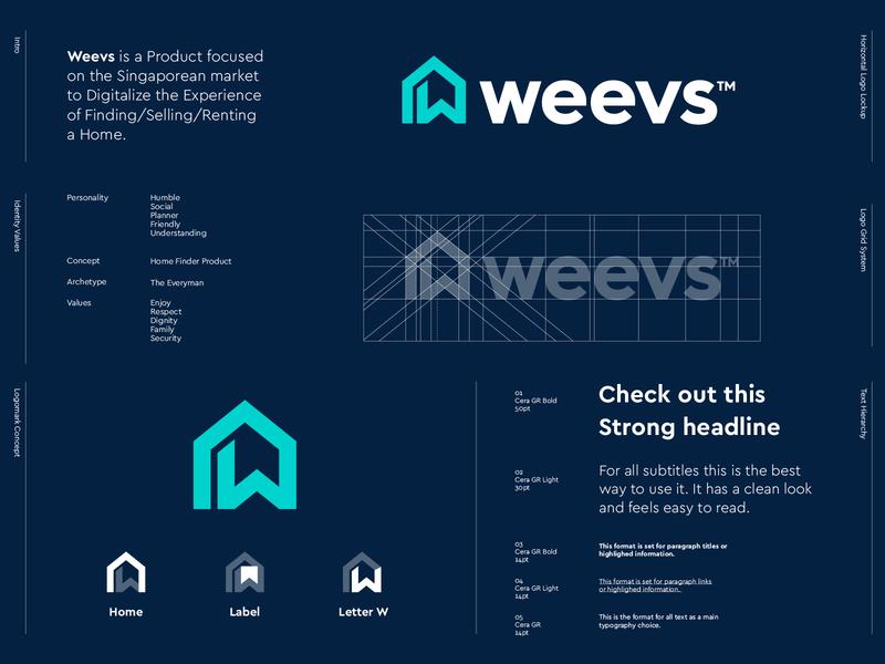 Weevs - Logo v2 symbol iconography rent buy label logodesign monogram design w monogram letter lettermark w house home logos logo style guide styleguide branding logo design weevs