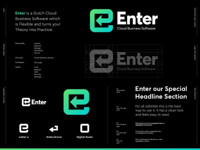 Enter - Logo Design monogram lettermark logo designs logos visual identity values typography concept evolution logo grid flexible software dutch software business cloud jeroen van eerden micro styleguide branding logo design logo enter
