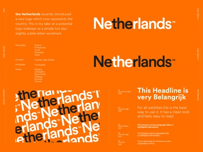 The Netherlands - Logo Redesign 🇳🇱🧡 monogram identity logo design branding nederland dutch design identity design branding visual identity dutch orange subtle design lettering logo wordmark lettermark lettering country logo logo design the netherlands holland