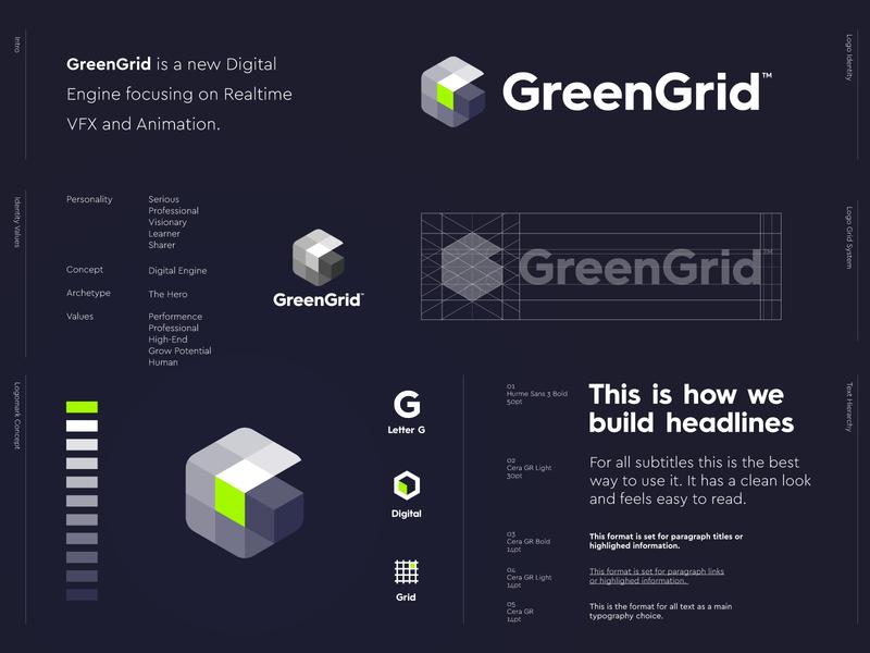 GreenGrid - Logo Design 🔋 branding identity logo mark lettermark g monogram intelligence vfx realtime animation digital engine engines engine development game grid logo grid green