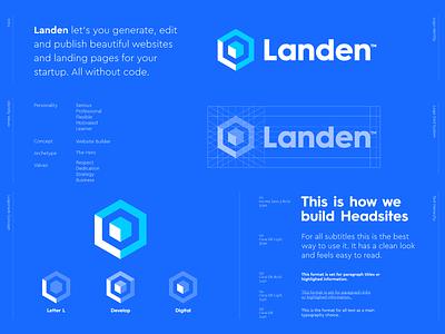 Landen - Logo Design 🏗️ symbol lettermark monogram l monogram digital development develop hexagon styleguide brand identity logo design logo web design web website landing page landing land landen