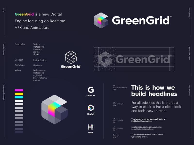 GreenGrid - Logo Design 🌈 logo design retro nintendo gameboy vfx animation play development game green symbol grid letter lettering icon mark monogram branding identity logo