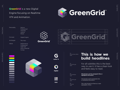 GreenGrid - Logo Design 🌈 logo design retro nintendo gameboy vfx animation play development game green symbol grid letter lettering icon mark monogram branding identity logo