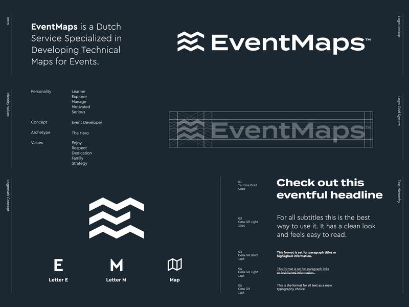 EventMaps - Logo Design 🗺️ logo design logos logotype brand identity identity branding waves water free bird logomark lettermark letter monogram e m travel road map maps event