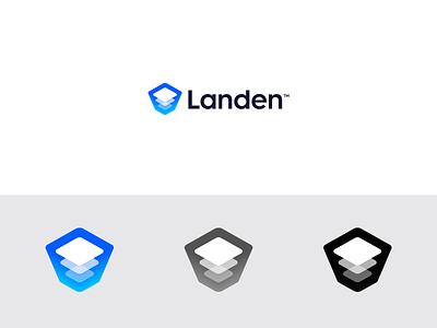 Landen - Refined Logo Design 🏗️ online platform develop layers layer container landing page landing landen visual design abstract logo design symbol grid lettering mark monogram branding identity logo