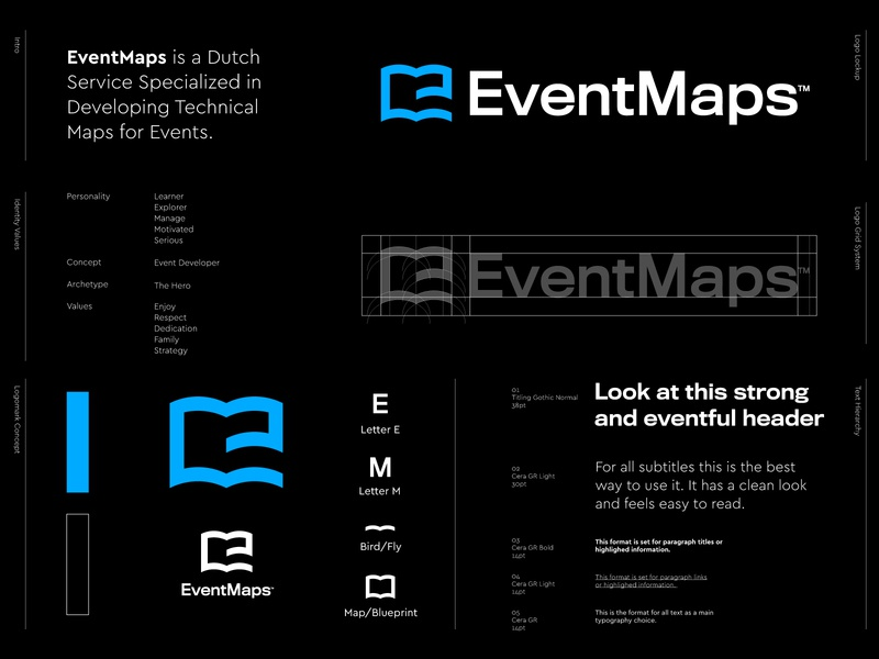 EventMaps - Logo Design v3 🗺️ branding event map free development technical online digital book ebook identity design logo designer logo design letter monogram lettermark e monogram events blue blueprint maps map event