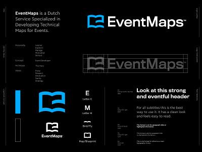 EventMaps - Logo Design v3 🗺️ branding event map free development technical online digital book ebook identity design logo designer logo design letter monogram lettermark e monogram events blue blueprint maps map event