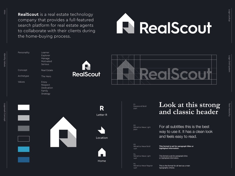 RealScout - Logo Redesign 🏠 estate agent patterns brand pattern stationary design icon design logos creative logos logo creative r monogram logo identity realestate logo redesign redesign branding brand location house home estate real
