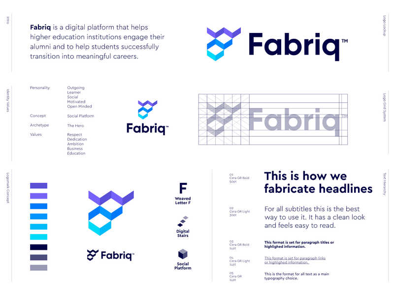 Fabriq - Logo Design 📶 logo design logo negative space logo f monogram users connect interact students student alumni education grow steps stairs platform digital platform social fabriq fabric