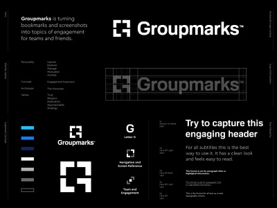 Groupmarks - Logo Design ↗️ group marks extension team engage arrow g logo storytelling brand identity logo design symbol grid letter lettering icon mark monogram branding identity logo