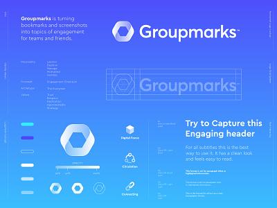 Groupmarks - Logo Design 🔄 brand identity design logo design digital transition recording record engage engagement management manage team media multimedia screenshot bookmark book groupmark mark group communicate