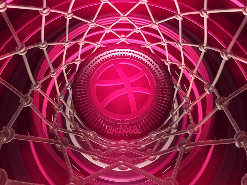 Hello Dribbble! c4dart cinema 4d basketball sports branding logo light 3d design