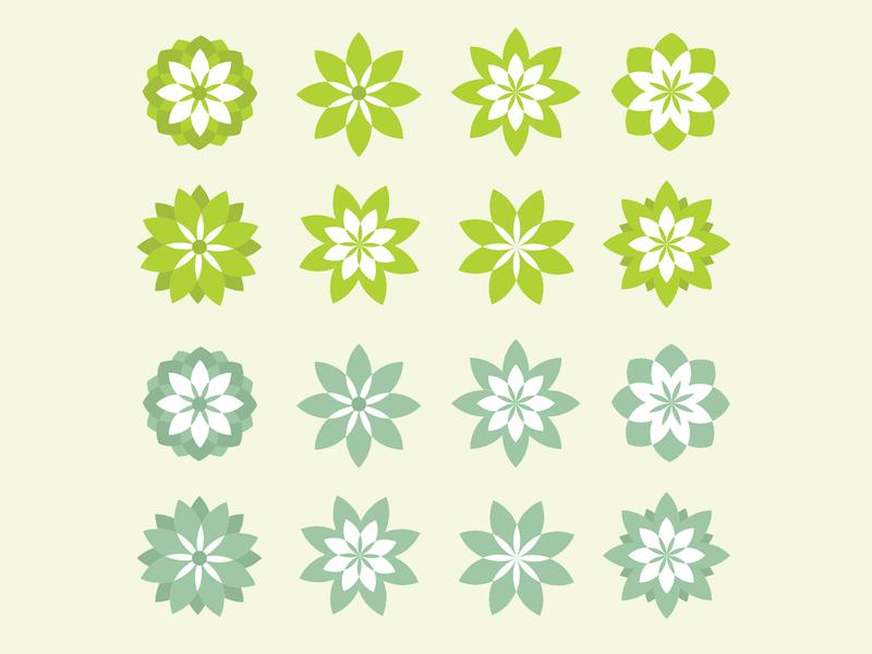Helcha Gardens garden flower geometric illustration vector icon logo design branding