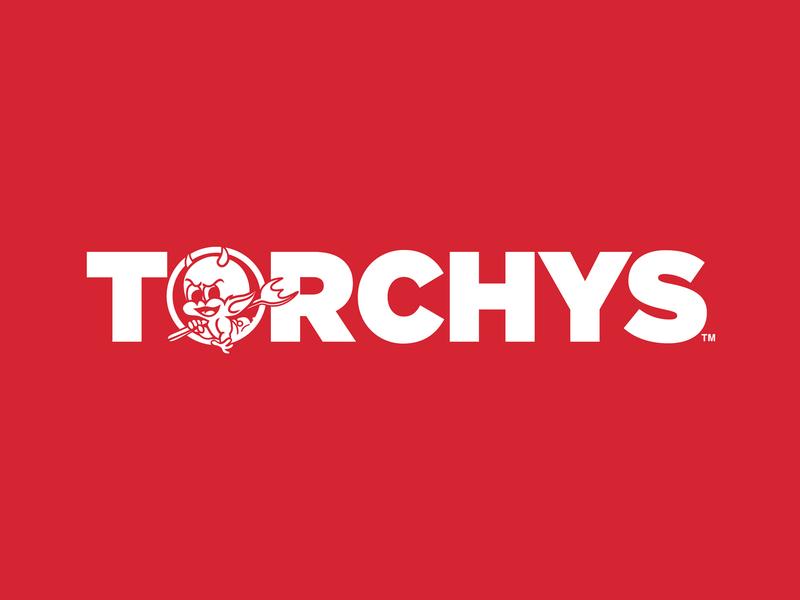 Torchys modern mascot icon restaurant typography vector logo design branding