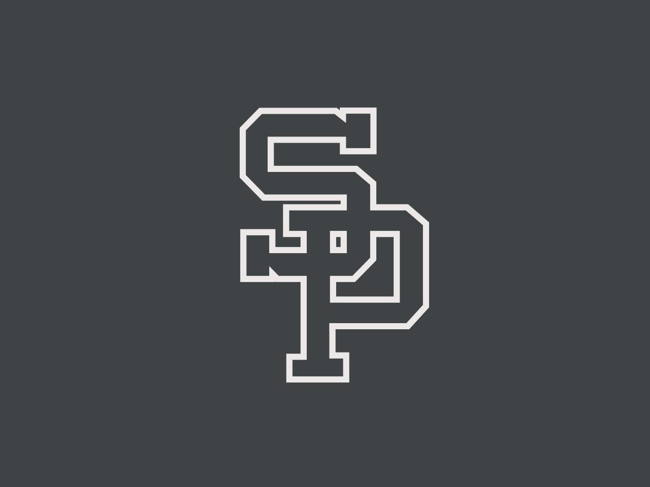 SP team logo baseball icon typography vector sports logo design branding